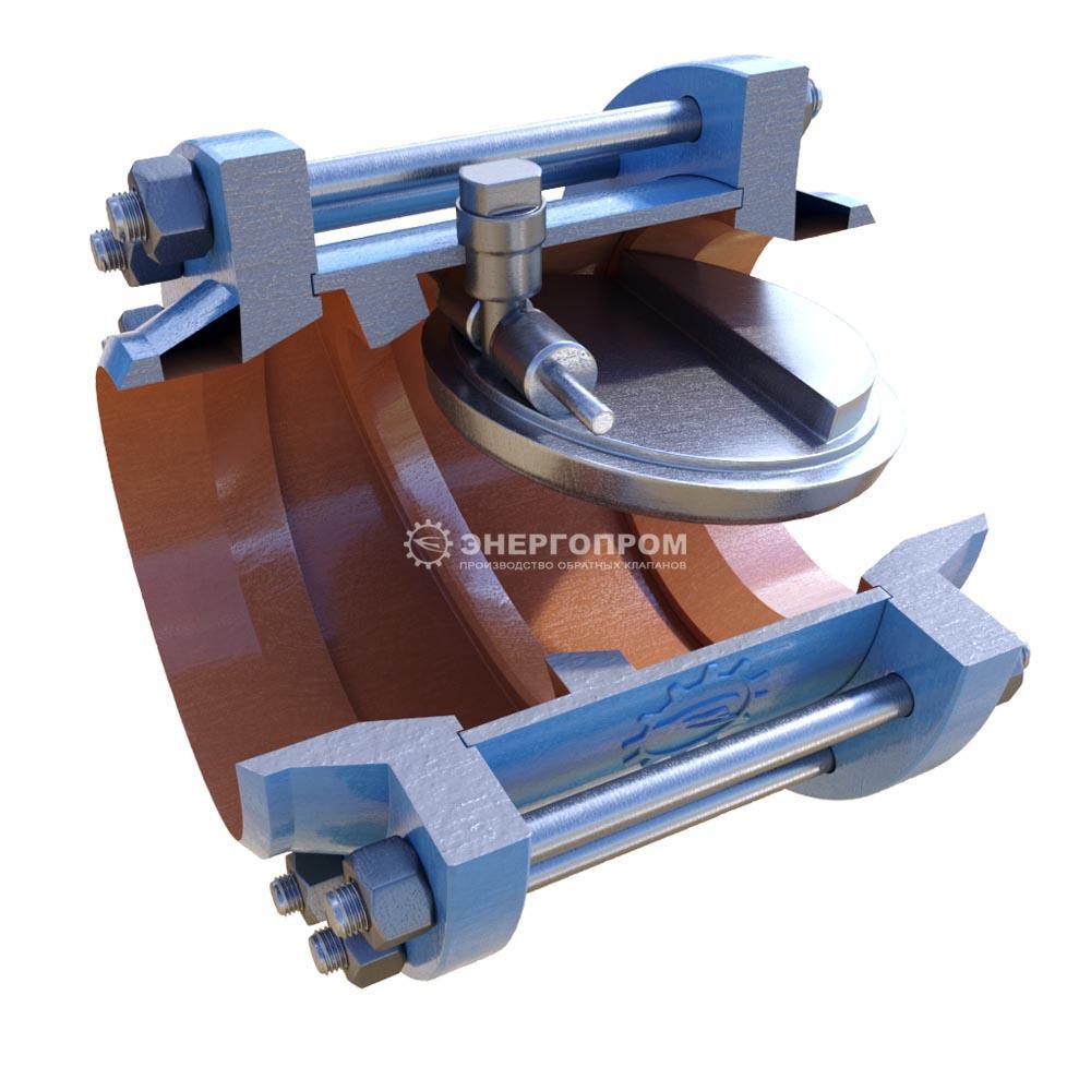 Клапан обратный 19с73нж ДУ150-300 РУ25-40 межфланцевый стальной с фланцами и крепежом затвор однодисковый с коф стяжной между фланцами