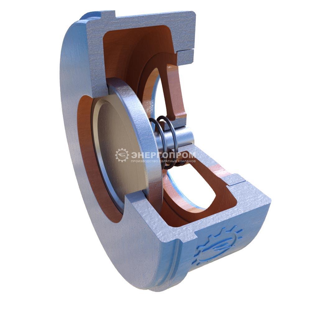 Клапан обратный нержавеющий тарельчатый подпружиненный 19нж71нж ДУ50-300 Ру25 межфланцевый